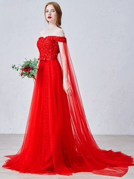 Elegant Off the Shoulder Sequin Bowknot Lace Red Evening Dress