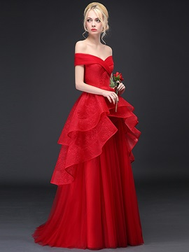 Off the Shoulder Tiered Ruffles Lace Evening Dress