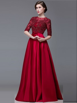 A-Line Half Sleeves Jewel Appliques Lace-Up Evening Dress