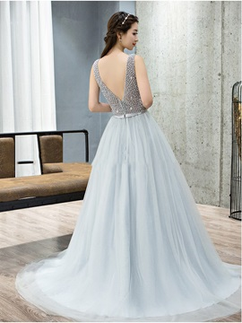 Fancy Scoop Neck Beading Tulle Evening Dress
