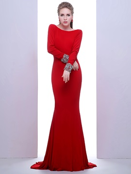 Ladylike Bateau Neck Long Sleeves Beading Backless Evening Dress
