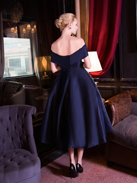 Off the Shoulder Bowknot Tea-Length Evening Dress