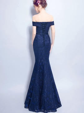 Off the Shoulder Sequins Trumpet Lace Evening Dress