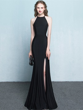 Halter Split-Front Long Sheath Red Evening Dress