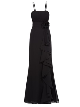 Removable Straps Pleats Flower Ruffles Sheath Evening Dress