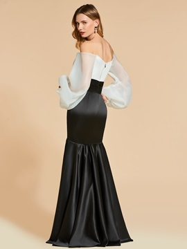 Mermaid Off-the-Shoulder White and Black Long Evening Dress
