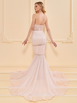 Trumpet Lace Beading Sweetheart Evening Dress