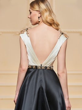 A-Line Beadings Bateau Evening Dress