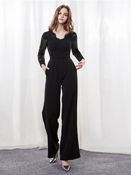 A-Line Lace Long Sleeves Evening Jumpsuits