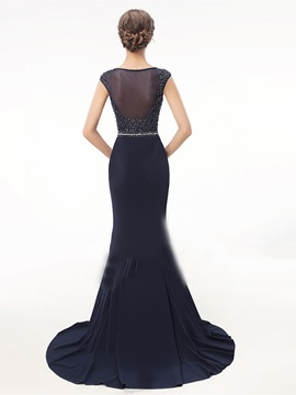 Beading Trumpet Rhinestone Embroidery Scoop Evening Dress