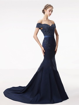Appliques Mermaid Beading Lace Sashes Evening Dress