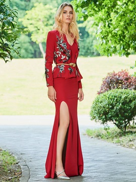 Embroidery Appliques Sheath Evening Dress
