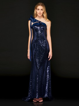 Scoop Rulffles Sequins Sheath Evening Dress