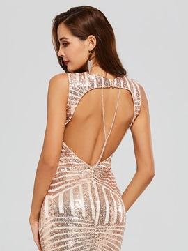 Mermaid Sequins Backless Scoop Evening Dress