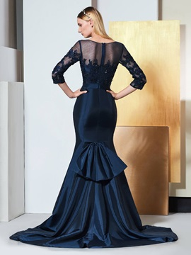 Trumpet Bateau Beading Bowknot Lace Evening Dress
