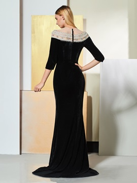 Mermaid Button Beaded Half Sleeves Evening Dress