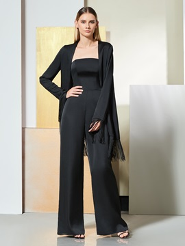 Sheath Long Sleeves Strapless Evening Jumpsuits