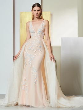 Mermaid Embroidery Appliques Watteau Train Evening Dress