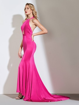 Mermaid Halter Hollow Backless Evening Dress