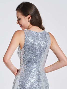 Sheath Scoop Appliques Sequins Evening Dress