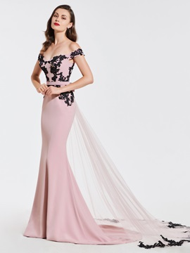 Mermaid Off-the-Shoulder Appliques Sashes Evening Dress