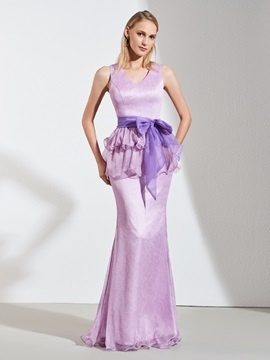 V-Neck Trumpet Sashes Bowknot Evening Dress
