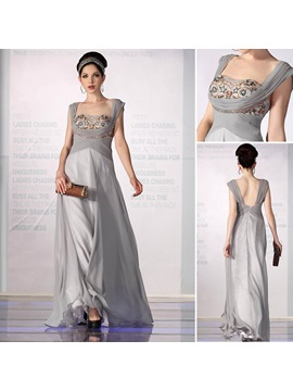 Elegant A-Line Square Neckline Empire Waistline Beading Floor-Length Evening Dress