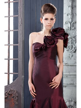 Elegant Mermaid One-Shouder Sweep Train Flowers Long Lara's Evening Dress