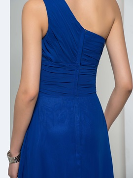 Consice One-Shoulder Ruched Bodice A-Line Court Train Taline's Evening Dress