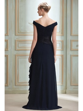 Off-the-Shoulder V-Neck Appliques Evening Dress