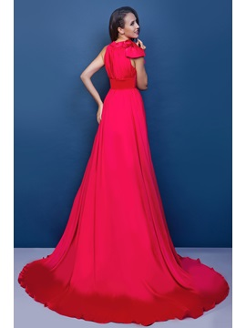 Charming A-Line Jewel Neck Court Train Bowknot Renata's Long Evening Dress