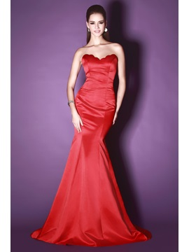 Hot Selling Red Mermaid Sweetheart Floor Length Court Train Sandra