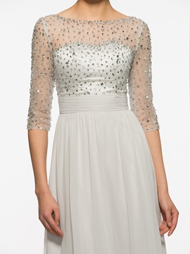 Bateau Half Sleeves A Line Long Mother Of The Bride Dress