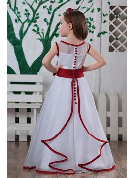 Beautiful A-line Tea -length Bateau Flower Girl Dress