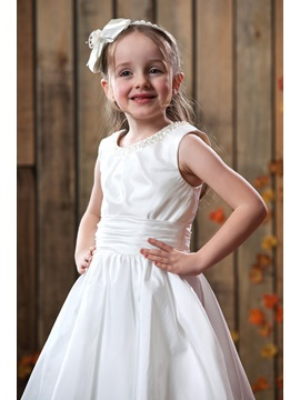 A-line Flower-length Sweeping Train Flower Girl Dress