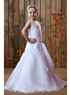 Spaghetti Straps Floor-Length A-Line Flower Girls Dress