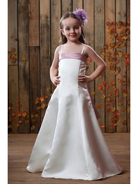 A-line Spaghetti straps Sashes Flower Girls Dress