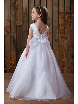 Fresh Bateau Ankle-Length Flower Girl Dress