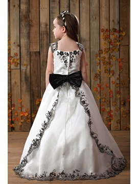 Square Neck Appliques Flower Girls Dress
