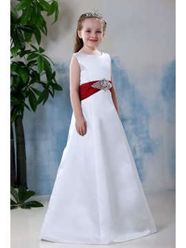 Simple Style A-line Scoop Bowknot Flower Girl Dress