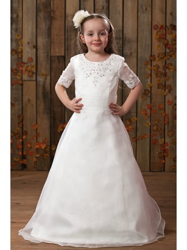 Round-Neck Floor-Length Shorth Sleeve Flower Girl Dress