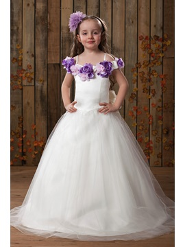 Bright A-line Off-the-Shoulder Floor-length Flowers Embellishing Flower Girl Dress