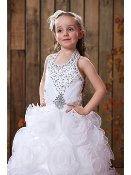 Flowers Halter Ball Gown Flower Girl Dress