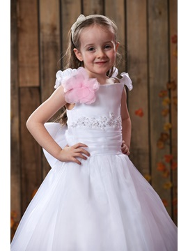 Lovey A-line Floor-Length Off-the-Shoulder Flower Girl Dress