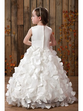 Glorious A-line Scoop Sleeveless Floor-length Appliques Flower Girl Dress