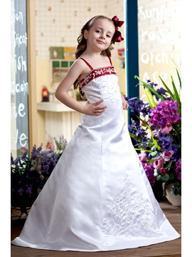 A-Line Spaghetti Sleeveless Flower Girl Dress