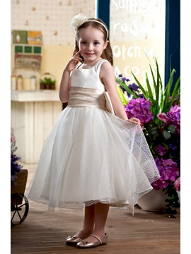 Ball Gown Square Knee-length Sash Embellishing Flower Girl Dress