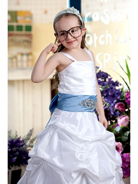 Pick-Ups Spaghetti Straps Beaded Sashes Flower Girl Dress