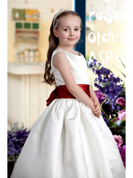 Simple A-Line Round-Neck Sashes Flower Girl Dress