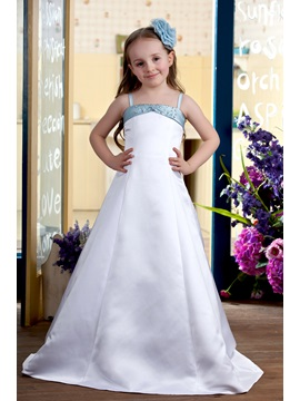 Beading Spaghetti Straps Flower Girls Dress